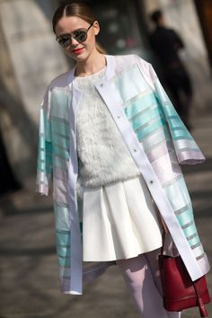 Kristina Bazan - total white with colorful coat and lilac thighs - pastels for spring - milano fashion week F/W 14- street style