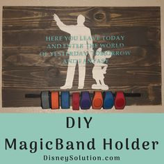 What do you do with your Magic Bands after you return?Display them! Create your own DIY MagicBand Holder! Disney Souvenirs, Disney Trips, Disney Sign, Disney Stuff, Walt Disney, Disney Rooms, Disney House, Souvenir Display, Earing Holder