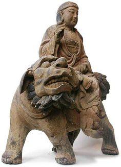 chinese wood carvings | Manjusri Buddha Riding Lion Wood Carving