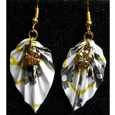 Paper Origami Leaf Light Weight Earrings, Black & White w/ Gold Color Cherry Blossom Charm *** You can get more details by clicking on the image.