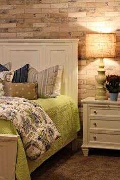 Utah Valley Parade of Homes - Bedrooms   Color scheme from comforter blue, tan, and green!