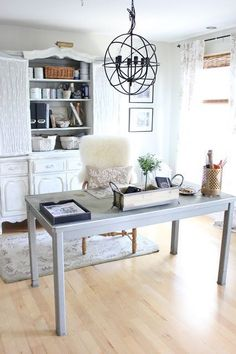 Organize it Gorgeous! This ladie's Home Office style is Rustic Gold Glam. Throw your drab pencil holders away! Use decorative containers in woods and gold for pretty moments on that desktop! All kinds of lined wire baskets hold a multitude of office suppl
