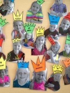 Criar atividades a partir da foto deles é mais que identificar, é valorizar, diferenciar, incentivar, motivar e permitir que brinquem e . Classroom Organisation, Classroom Displays, Classroom Themes, Birthday Display In Classroom, Preschool Classroom, Preschool Activities, Space Activities, Birthday Bulletin Boards, Preschool Birthday Board