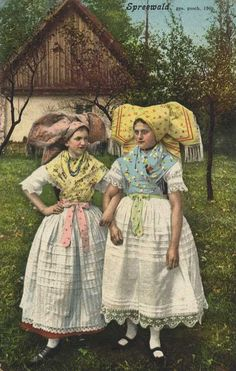 Spreewald (Lusatian: blota) - Slavic Folk Costumes and Accesories Spreewald, Germany (This section of Germany, SE of Berlin, has traditionally been occupied by a Slavic people group known as Sorbs or Wends.)