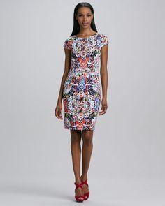 Skyler Printed Dress  by T Tahari at Neiman Marcus.