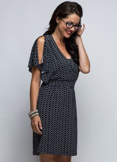 Queen Bee Journo Breastfeeding Dress in Black Print by Milky Way Nursingwear