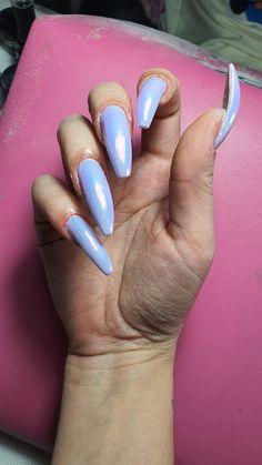 #chromenails #lilac #ballerinanails #purplenails Ballerina Nails, Chrome Nails, Purple Nails, Lilac, Beauty, Purple Nail, Syringa Vulgaris, Beauty Illustration, Violet Nails