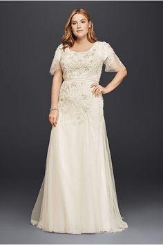 Oleg Cassini Lace Wedding Dress with 3/4 Sleeves - Davids Bridal