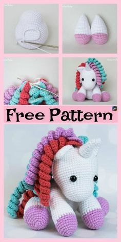Cute Crochet Unicorn Amigurumi – Free Patterns The Crochet Unicorn Amigurumi project here we will be showing you is really cute, and is the dream of basically every young girl. Crochet Unicorn Pattern Free, Crochet Doll Pattern, Crochet Toys Patterns, Stuffed Toys Patterns, Crochet Dolls, Crochet Stitches, Knitting Patterns, Free Pattern, Amigurumi Patterns