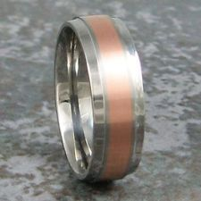 Titanium Rose Gold Inlay Wedding Ring Mens Band Custom Made to ANY Sizing 3-22