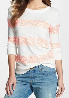 Loving this #coral striped sweater with sequin detail http://rstyle.me/n/hgazrnyg6