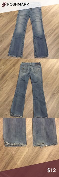 Classic American Eagle jeans American Eagle jeans size 6 long. Fraying at the bottom and the tag on the top back of the jeans has worn off. A classic pair of jeans nonetheless American Eagle Outfitters Jeans Straight Leg