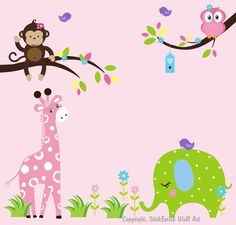 Nursery Wall Decal Wall Sticker with Giraffe, Elephant, Monkey, Owl - 311 - Baby Wall Decal. $139.95, via Etsy.  @Khloé Petersen
