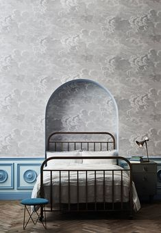 A smaller scale version of the mural Nuvole, Nuvolette, is one of the most enduring Fornasetti designs. The sky was long a recurring vision for Fornasetti and these little clouds are delicately detailed etchings depicting tempestuous, rolling skies. Cole And Son Wallpaper, Cloud Wallpaper, Grey Wallpaper, Bedroom Wallpaper, Beautiful Wallpaper, Fornasetti Wallpaper, Feng Shui, Casa Milano, Houses