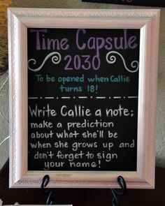 DIY Baby Time Capsule - perfect activity and gift for a baby shower or birthday! - we should do this for Baby T! 1 Year Birthday, Baby First Birthday, First Birthday Parties, Girl Birthday, First Birthdays, Birthday Diy, Birthday Ideas, Birthday Wishes, Time Capsule Birthday