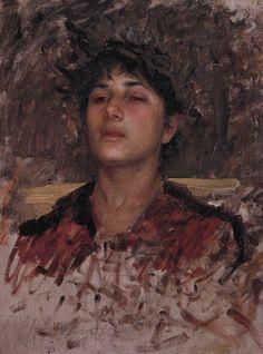 John William Waterhouse - Head of a young man - around 1890