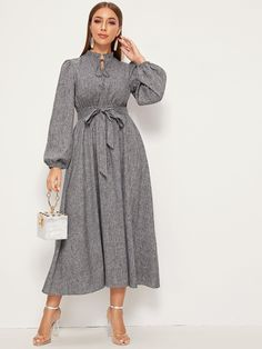 Frill Trim Tie Neck Lantern Sleeve Dress Check out this Frill Trim Tie Neck Lantern Sleeve Dress on Shein and explore more to meet your fashion needs! Modern Hijab Fashion, Hijab Fashion Inspiration, Modest Fashion, Fashion Dresses, Jeans Fashion, Winter Dresses, Casual Dresses, Simple Gowns, Mode Hijab