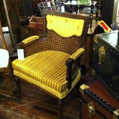 Simon Vintage yellow wood wicker chair 1911 9th Street NW