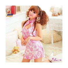 Buy Ayoka Lingerie Costume Set: Open-Back Cheongsam Dress + String Cheongsam Dress, Embroidered Shorts, Floral Shorts, Lingerie Set, Asian Fashion, Fashion Brand, Baby Dolls, Costumes, Summer Dresses