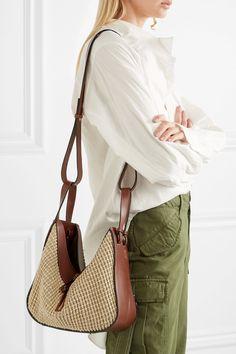Loewe | Hammock leather and raffia tote | NET-A-PORTER.COM
