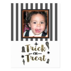 Trick or Treat Ghosts Chic Modern Halloween Photo Postcard - birthday cards invitations party diy personalize customize celebration
