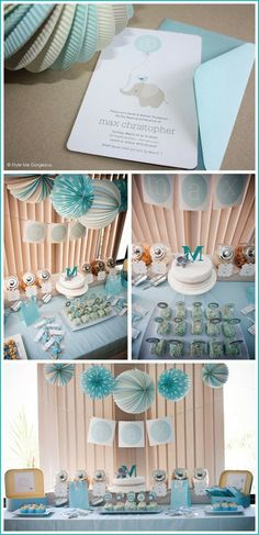 boy baby shower dessert table from Style Me Gorgeous #dessert #table #buffet #party #baby #shower #blue #white #green #gray #cake #monogram #elephant #candy