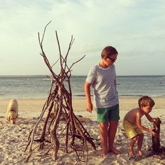 Teepee making on our beach.  So much driftwood here!
