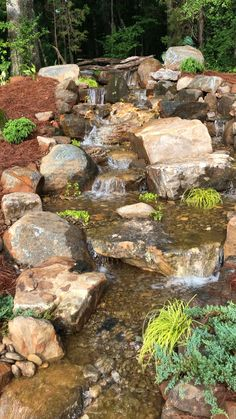 A natural looking waterfall goes 24 feet with huge boulders. A natural looking waterfall goes 24 feet with huge boulders. Small Backyard Landscaping, Landscaping With Rocks, Backyard Ideas, Backyard Patio, Landscaping Ideas, Mulch Landscaping, Wooded Backyard Landscape, Waterfall Landscaping, Terraced Backyard