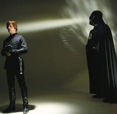 Mark Hamill as Luke Skywalker and Darth Vader in a very cool production photo from Star Wars Return Of The Jedi