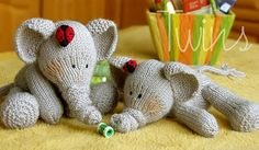 SUPER Adorable, may try to knit these for Christmas Gifts.... http://twinsknit.blogspot.com/2011/01/elephant-and-ladybug.html