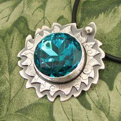 """Large Czech Glass Faceted Gem """"Ask the Blue Fairy"""" Sterling Pendant - dark aqua - turquoise - blue - OOAK by marybird on Etsy"""