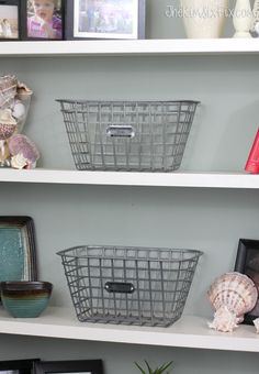faux vintage galvanized zinc locker baskets and tags, crafts, how to, organizing, repurposing upcycling, storage ideas