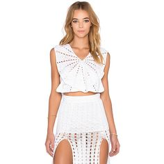 Alice McCall I Want It All Tank (120 BAM) ❤ liked on Polyvore featuring tops, tanks, alice mccall, crochet top, crochet tank top, white crochet top and white crochet tank top