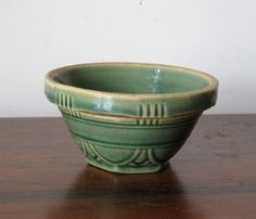 RARE Early Antique Vintage Small 4 in Yellow Ware Green Bowl Stoneware | eBay