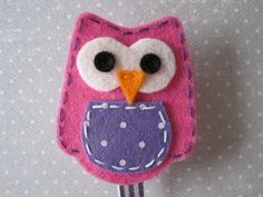 Felt Pacifier Clip  Pink and Purple Owl  Unique by weeandmestyle, $8.00