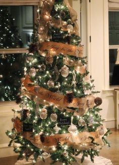 Christmas Tree Decorating Ideas - Christmas Tree with Burlap Ribbon - Click Pic for DIY Christmas Decorations
