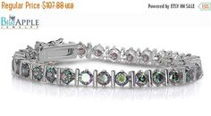 """Tennis Bracelet 7.5"""" Solid 925 Sterling Silver ILink with Round Cut 5 mm Rainbow Topaz CZ Wedding Engagement Bridesmaid Daily Bracelet Gift"""