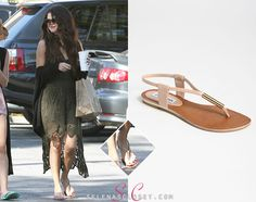 Selena Gomez was spotted getting Chipotle just hours before the Spring Breakers LA premiere on Thursday wearing these Steve Madden 'Hamil' Sandals in color Blush Patent. They're at Nordstrom for $49.95.  Buy them HERE  ThanksStyle And Music Secrets Blog!  She's also wearing a Free people dress.