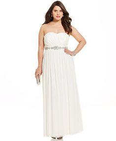Trixxi Plus Size Strapless Rhinestone Gown