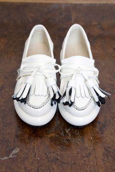Unique Leather Tassel Loafer White