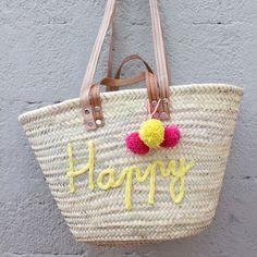 DIY de l'été : on customise nos sacs de plage avec du tricotin - Summer DIY : customize a rope basket with spool knitting /  Marie Claire Idées