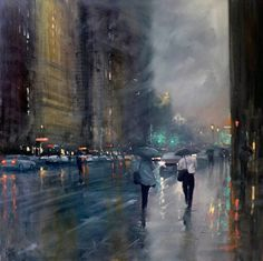 Australian painter Mike Barrfocuses his work almost exclusively on rainy cityscapes, the moments of hazy gray that become illuminated by a city's cars and traffic lights. There is a unity found in these dreary urban landscapes, a similarity of imagery which it makes it difficult to pinpoint which c
