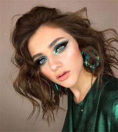 Glam Makeup, Fancy Makeup, Makeup For Green Eyes, Gorgeous Makeup, Pretty Makeup, Eyeshadow Makeup, Hair Makeup, Eyebrow Makeup, Red Makeup Looks