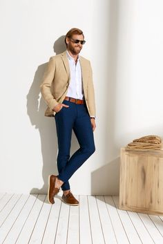 La imagen no esta disponible Formal Attire For Men, Mens Casual Suits, Blazers For Men Casual, Business Attire For Men, Business Casual Outfits, Mens Fashion Suits, Casual Look For Men, Men Formal, Blazer Outfits Men
