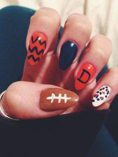 Bronco Nails! Stiletto nails w/ Leopard print, Blue & Orange, Chevron, and a football! #bronconails #nailart