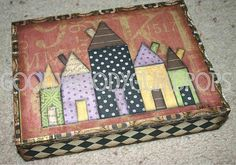 Altered Cigar Box for Halloween - Salem's row of houses