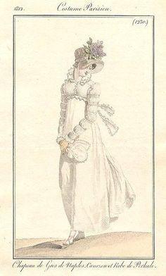 White gown with Marie/Juliet/ mameluke sleeves. 1812 Costume parisien Costume parisien