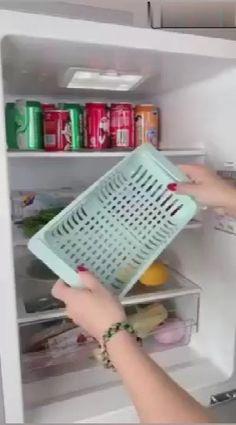 Kitchen Storage Refrigerator Partition Storage Rack – diy home crafts Cool Kitchen Gadgets, Home Gadgets, Cool Kitchens, Cooking Gadgets, Diy Kitchen Storage, Home Decor Kitchen, Kitchen Items, Kitchen Utensils, Design Kitchen