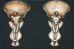 Bronze figural sconces
