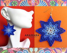 Huichol Earrings, Star Earrings, Beaded Star, Mexican earrings, Native american earrings, Mexican Jewelry, Mexican folk art, Huichol AO-0167